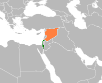 Map indicating locations of إسرائيل and سوريا
