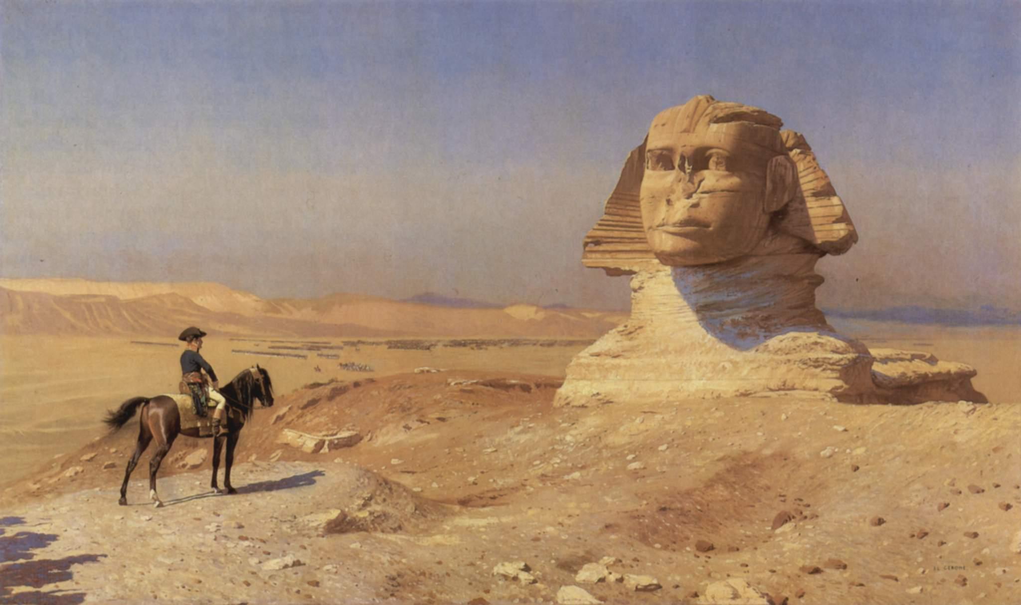صورة لنابليون أمام أبو الهول.