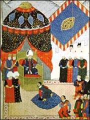 سليمان القانوني وفي حضرته أحد ملوك أوروبا