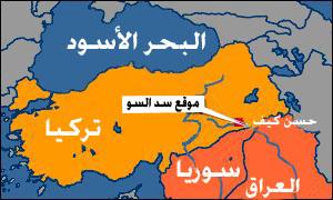خريطة توضح موقع سد إليسو
