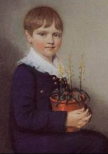 Three quarter length portrait of seated boy smiling and looking at the viewer. He has straight mid brown hair, and wears dark clothes with a large frilly white collar. In his lap he holds a pot of flowering plants