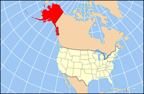 Map with Alaska highlighted