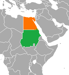 Map indicating locations of Egypt and Sudan