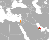 Map indicating locations of Bahrain and Israel