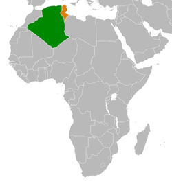 Map indicating locations of Algeria and Tunisia