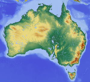 Map showing the topography of Australia, showing some elevation in the west and very high elevation in mountains in the southeast