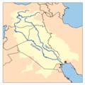 خريطة توضح نهر دجلة