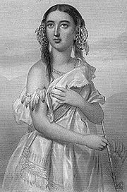 A black and white drawing of a young dark-haired Native American woman turning to her right. She is holding a pipe in her right hand.