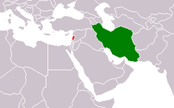 Map indicating locations of إيران and لبنان