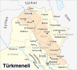 منطقة تواجد التركمان في العراق.