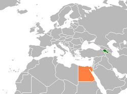 Map indicating locations of Armenia and Egypt