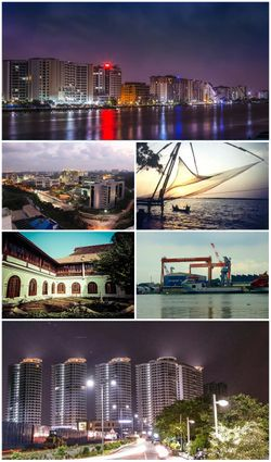 من أعلى تجاه عقارب الساعة: Marine Drive Skyline, Chinese Fishing Nets at Fort Kochi, Cochin Shipyard, Queen's Way, Hill Palace، إنفوپارك.