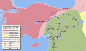 خريطة تفصيلية لمسار جيش خالد بن الوليد لفتح أرمنيا والأناضول