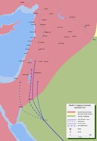 خريطة تفضيلية لفتوحات الخلفاء الراشدين في بلاد الشام