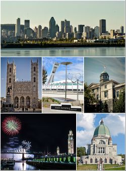 From top to bottom, left to right: Downtown Montreal, Notre-Dame Basilica, Olympic Stadium, McGill University, Old Montreal featuring the Clock Tower and Jacques Cartier Bridge at the Fireworks Festival, Saint Joseph's Oratory