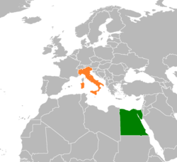Map indicating locations of Egypt and Italy