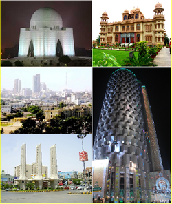 From top: Jinnah Tomb, Mohatta Palace, Financial District, Habib Bank Plaza, Teen Talwar