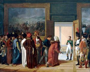 A group of men, some wearing beards and turbans, are in a room with a large painting on the wall, they look towards a doorway wear a man in military uniform including white johphurs (Napoleon) looks back at them and has his right hand in his waistcoat.