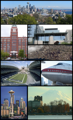 Clockwise: Downtown Seattle from the north, City Hall, aerial view of the city, a former commercial Boeing jet on display at the Museum of Flight, Mount Rainier, the Space Needle, Qwest Field, and Starbucks Coffee Company Headquarters