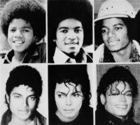 المراحل العمرية المختلفة لمايكل جاكسون ويظهر فيها أثر عمليات التجميل المتعددة التي أجراها