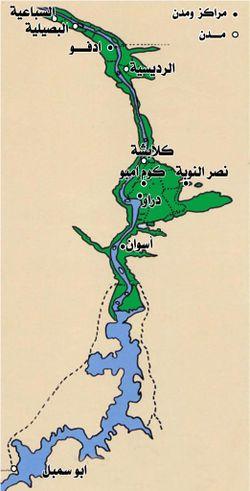 خريطة مراكز ومدن محافظة أسوان.