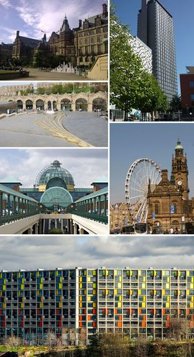 مع عقارب الساعة من أعلى اليسار: مبنى بلدية شفيلد؛ St Paul's Tower from Arundel Gate; the Wheel of Sheffield; Meadowhall shopping centre; محطة شفيلد and Sheaf Square. Park Hill at the bottom.