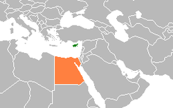 Map indicating locations of Cyprus and Egypt