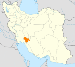 Map of Iran with Kohgiluyeh and Boyer-Ahmad highlighted
