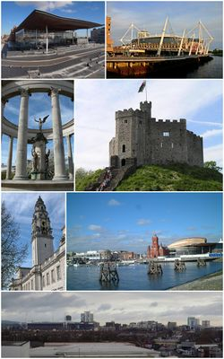 Clockwise from top left: The Senedd, Principality Stadium, Norman keep, Cardiff Bay, Cardiff City Centre, City Hall clock tower, Welsh National War Memorial