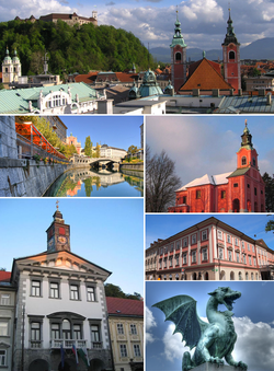 Clockwise from top: Ljubljana Castle in the background and Franciscan Church of the Annunciation in the foreground; Visitation of Mary Church on Rožnik Hill; Kazina Palace at Congress Square; one of the Dragons on the Dragon Bridge; Ljubljana City Hall; Ljubljanica with the Triple Bridge in distance