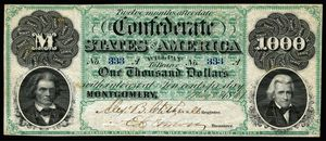 "First series $1,000 banknote. Uniface. Inscribed ""Twelve months after date""."