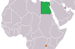 Map indicating locations of Egypt and Rwanda