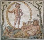 Aion النظير الروماني لأورانوس مع تِرّا (النظيرة الرومانية لجايا) على فسيفساء
