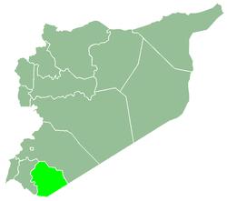 خريطة سوريا، موضح فيها السويداء.