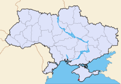 Map of Ukraine with Sevastopol highlighted
