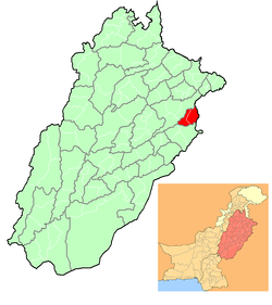 Location of Lahore in Punjab, Pakistan.