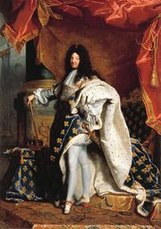 Portrait of Louis XIV of France, standing, wearing an ermine robed faced with fleur-de-lis