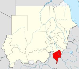 موقع ولاية النيل الأزرق في السودان.
