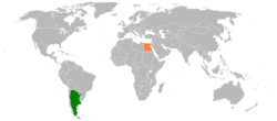 Map indicating locations of Argentina and Egypt