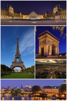صورة مجمعة لباريس: في إتجاه عقارب الساعة.