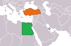 Map indicating locations of Turkey and Egypt