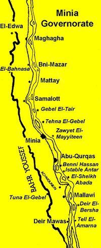 خريطة محافظة المنيا.