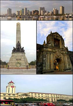 Images, from top, left to right: Manila skyline, Rizal Park, Fort Santiago, Manila City Hall.