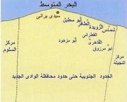 خريطة مركز براني، في محافظة مطروح