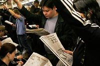 New York's use of mass transit gives the city a large newspaper readership base.[16]