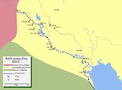 خريطة تفصيلية لمسار جيش خالد بن الوليد أثناء فتح العراق