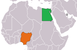 Map indicating locations of Egypt and Nigeria