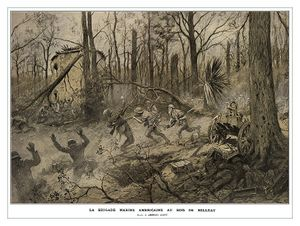 monochromatic artwork of Marines fighting Germans in a forest