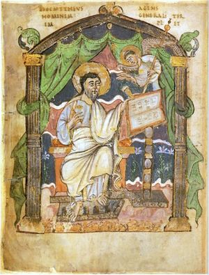 Miniature of St Matthew in gospels presented by Æthelstan to Christ Church, Canterbury