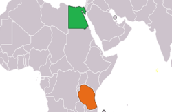 Map indicating locations of Egypt and Tanzania